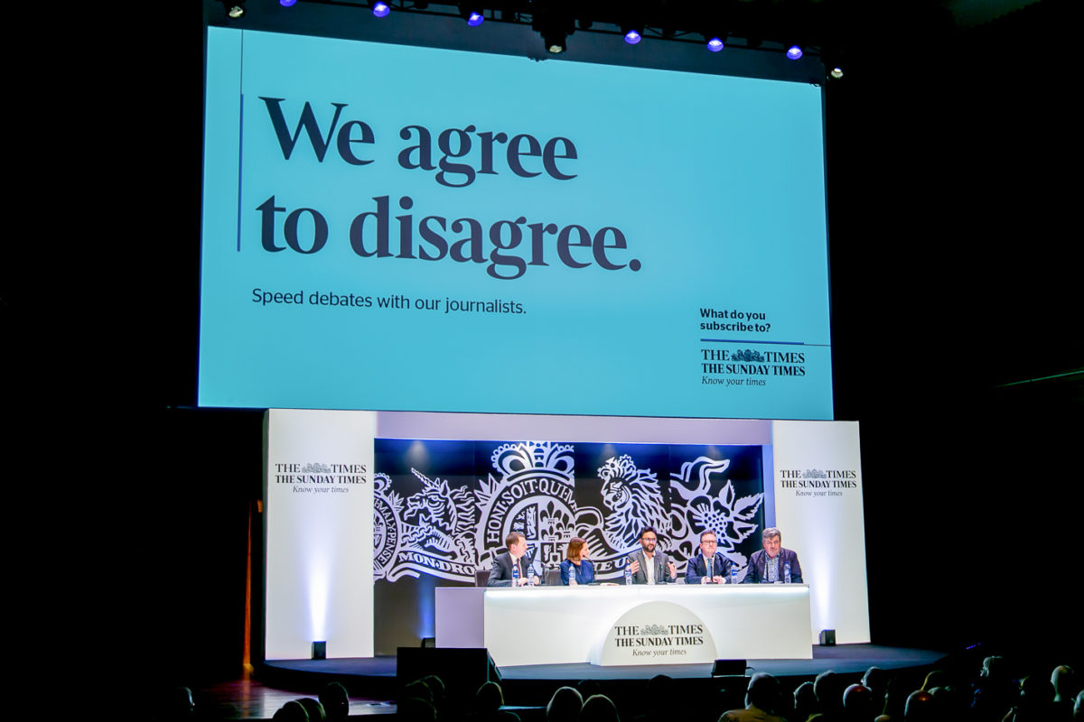 WE AGREE TO DISAGREE: SPEED DEBATES WITH THE TIMES JOURNALISTS